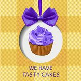We have tasty cakes hand drawn VECTOR illustration with doodle cupcake, realistic bow and fabric background. We have tasty cakes hand drawn VECTOR illustration Royalty Free Stock Photography