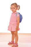Have to goo to school. Little girl not too happy about going to school or kindergarden - isolated Stock Image