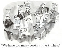 We have too many cooks in the kitchen.  Stock Photography