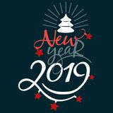 Have very Merry Christmas and Happy New Year 2019 we wish you lettering text logo on black background. Have a very Merry Christmas and Happy New Year 2019 we royalty free illustration