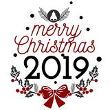 Have very Merry Christmas and Happy New Year 2019 we wish you lettering text logo. Have a very Merry Christmas and Happy New Year 2019 we wish you text logo sign stock illustration