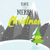 Have a very merry Christmas post card. Winter greeting card with mountains  christmas tree and modern lettering. Flat vector Royalty Free Stock Images