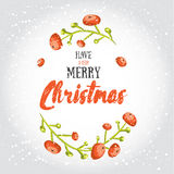 Have a very merry Christmas! Vector illustrated greeting card  with cartoon red berries and decorative winter lettering Royalty Free Stock Photos