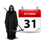 Have a very scary Halloween!. Halloween concept with Grim Reaper and calendar on 31th of October over white Stock Photo