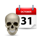 Have a very scary Halloween!. Halloween concept with grinning skull and calendar on 31th of October over white Stock Image
