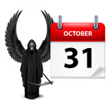 Have a very scary Halloween!. Grim Reaper with wings and calendar on 31th of October over white. Halloween concept Stock Images