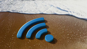 We Have WiFi Internet on the Beach Royalty Free Stock Photos