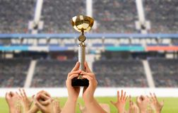 We have won the world cup. Sportsmen players raising the trophy after winning a match at the stadium Stock Images