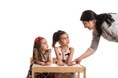 Have you washed your hands?. Mother asking her daughters if washed their hands before dinner Stock Photography