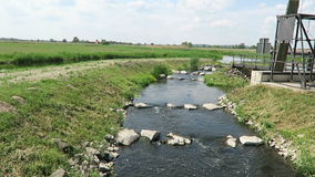 Havel river. historical needle weir. Havelland (Brandenburg, Germany). fish. Havel river. historical needle weir.Havel flowing through Havelland (Brandenburg stock footage