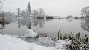 Havel River landscape Brandenburg, Germany at winter time with snow and ice. flowing water. Havel River landscape Brandenburg, Germany at winter time with snow stock footage
