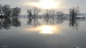 Havel River landscape Brandenburg, Germany at winter time with snow and ice. flowing water. Sundown stock video footage
