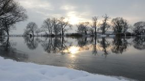 Havel River landscape Brandenburg, Germany at winter time with snow and ice. flowing water. Sundown stock footage