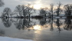 Havel River landscape Brandenburg, Germany at winter time with snow and ice. flowing water. Sunset stock video footage