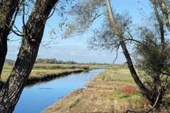 Havel river landscape at Havelland region in Germany stock photo