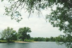 Havel river with natural sandbank. vintage retouch Stock Image