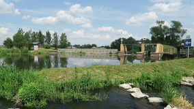 Havel river in summer. historical needle weir. Havelland (Brandenburg, Germany). fish stock footage