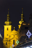 Havel squares Christmas markets and Havels church in Prague at night Stock Photos