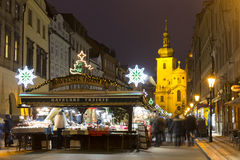 Havel squares Christmas markets in Prague with people shopping there at night Royalty Free Stock Photo