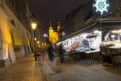 Havel squares Christmas markets in Prague with people shopping there at night Stock Photography