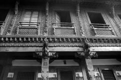 `-Haveli ` eller traditionellt arvhus i Ahmedabad Royaltyfria Foton