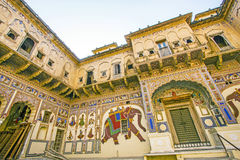 Haveli with wall paintings in Mandawa Stock Photo