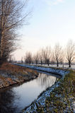 Havelland landscape with stream in winter time Royalty Free Stock Image