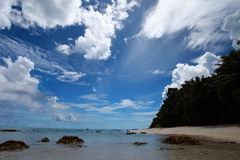 Havelock island beach blue sky with white clouds, Andaman islands - India Stock Image