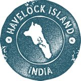 Havelock Island map vintage stamp. Retro style handmade label, badge or element for travel souvenirs. Blue rubber stamp with island map silhouette. Vector Royalty Free Stock Images
