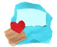 Haveloos stuk van oud document met hart Stock Fotografie