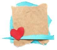 Haveloos stuk van oud document met hart Royalty-vrije Stock Afbeeldingen