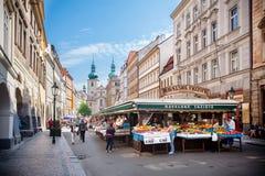 Havelske Trziste - Permanent marcado no centro de Praga, República Checa fotografia de stock