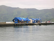 Haven in Akaroa, Nieuw Zeeland stock foto's