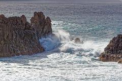 Haven bij de visserijdorp van Gr Pris, Tenerife, Spanje Stock Foto's