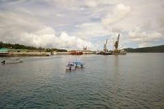 Haven Blair Port en Haddo-Werf zoals die van Chatham-Zaagmolen, Zuidenhaven Blair wordt gezien stock foto