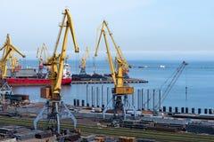 Haven in de Zwarte Zee, Odessa, de Oekraïne Stock Foto