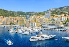 Haven en cityscape van Monte Carlo Stock Fotografie