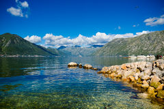 Haven en jachten bij de baai van Boka Kotor (Boka Kotorska), Montenegro, Europa Royalty-vrije Stock Afbeelding