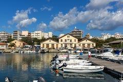 Haven en Panorama aan stad van Alexandroupoli, Oost-Macedonië en Thrace, Griekenland stock afbeelding