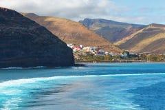 Haven en stad San Sebastian, La Gomera, Spanje stock foto