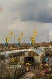 Haven in het Vyborg-werkschema bij de lente Stock Afbeelding