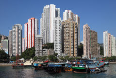 Haven in Hongkong Aberdeen Stock Foto's