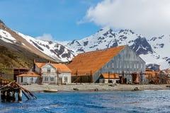 Haven Hoofdhuis en walvisvangstfabriek op Stromness-Eiland Stock Foto's