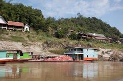 Haven op de Mekong rivier Stock Foto's