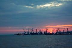 Haven op zonsondergang Stock Fotografie