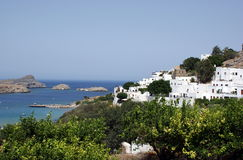 Haven and town Lindos on island Rhodes Royalty Free Stock Photo