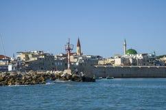 Haven van Acre en Sinan Pasha Mosque-overzeese mening royalty-vrije stock afbeeldingen