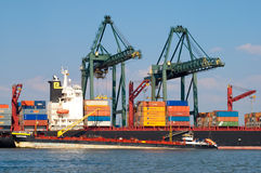 Haven van Antwerpen, België stock afbeelding