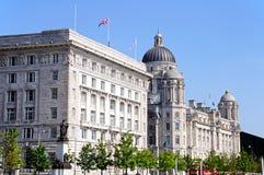 Haven van de bouw van Liverpool en Cunard-de Bouw Stock Foto