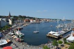 Haven van de fjord Flensburg in Duitsland Stock Afbeeldingen